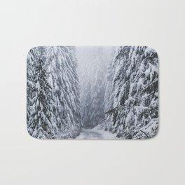 Snowy Oregon Forest Roads Bath Mat