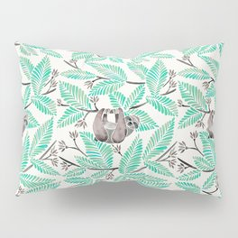 Happy Sloth – Tropical Mint Rainforest Pillow Sham