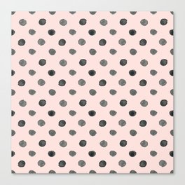 Hand drawn grey dots on pink - Mix & Match with Simplicty of life Canvas Print