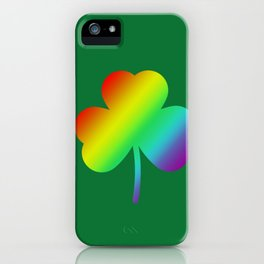 Rainbow Shamrock St Patricks Day Gift iPhone Case