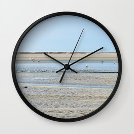 A flock of seagulls in the bay Wall Clock