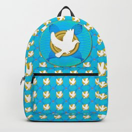 Dove on Gold Plate Pattern Backpack