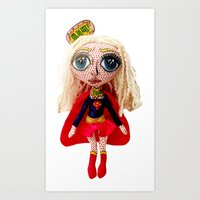 karu kara Art Prints featuring Kara Zoe-El ~ Supergirl by Chiara Venice Art Dolls