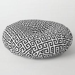 Black and White Greek Key Pattern Floor Pillow