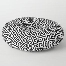 Black and White Greek Key Pattern Floor Pillow