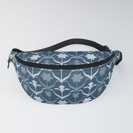 Art Nouveau Spring Bulbs Pattern – Navy Blue White Fanny Pack