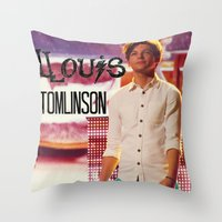 louis tomlinson Throw Pillows featuring Louis Tomlinson by Marianna