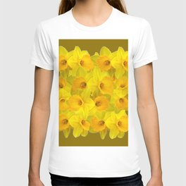 Olive Colored Golden Daffodile Floral Abundance T-shirt