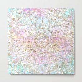 Elegant Gold Glitter Mandala Holographic Design Metal Print