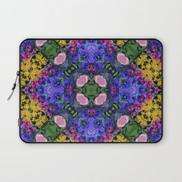 Floral Spectacular: Blue, Plum and Gold - repeating pattern, diamond, Olbrich Botanical Gardens, Mad Laptop Sleeve