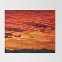 Flame Coloured Sunset Sky Throw Blanket