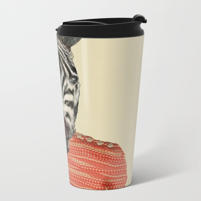 charlie zebra Metal Travel Mug