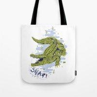 crocodile Tote Bags featuring Crocodile by Sam Jones Illustration