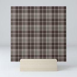 Brown Taupe Plaid Tartan Textured Pattern Mini Art Print