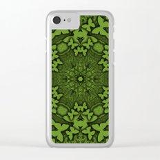 Butterfly kaleidoscope in green Clear iPhone Case