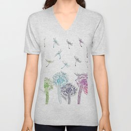 Rainbow dandelions Unisex V-Neck