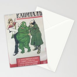 politburo, Capitalism. For centuries you have weighed us down with your heavy load. Now it's pay back time! Stationery Cards
