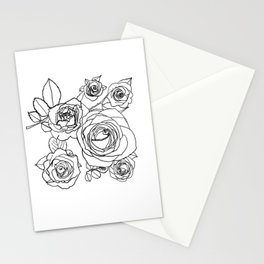 Feminine and Romantic Rose Pattern Line Work Illustration Stationery Cards