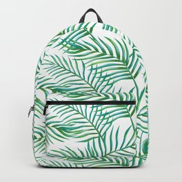 Palm Leaves_Bg White Backpack