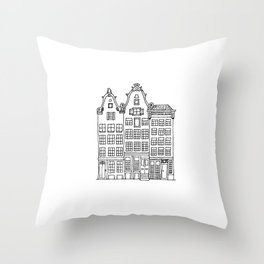canal houses three Throw Pillow