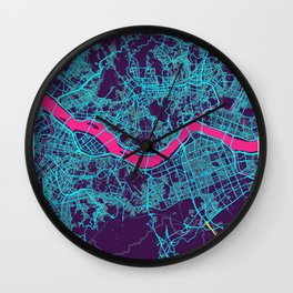 Seoul Neon City Map, Seoul Minimalist City Map Wall Clock