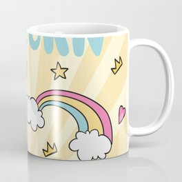 Background with stars and hearts with hand drawn unicorn Coffee Mug