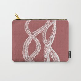 Woodcut Style Cthulu Octopus Tentacles on Pink Background Terror Four Carry-All Pouch