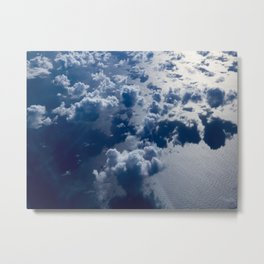 High Altitude Clouds Over Ocean Blue Fluffy Clouds Metal Print