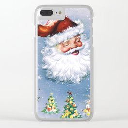 Santa Claus with christmas trees Clear iPhone Case