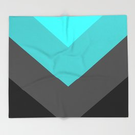 Aqua Gray Chevron Stripes Throw Blanket