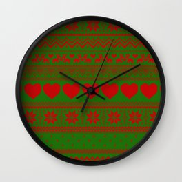 christmas knitted sweater heart Wall Clock