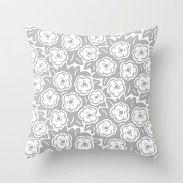 Flower Bouquet Pattern Gray Throw Pillow