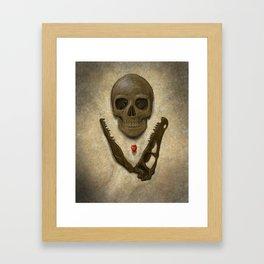 Impermanence - Velociraptor and Human Skull Framed Art Print