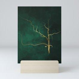 Kintsugi Emerald #green #gold #kintsugi #japan #marble #watercolor #abstract Mini Art Print