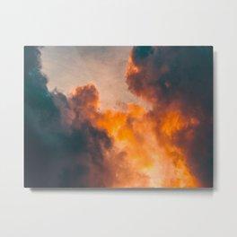 Beautiful Orange Whimsical Clouds Cotton Candy Texture Sky Cloud Photo Renaissance Painting Metal Print