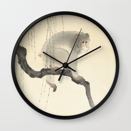 Monkey on tree branch, Ohara Koson Wall Clock