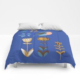 hygge blue bird Comforters