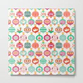 Colorful Christmas Baubles Metal Print