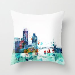 Chorpus Christi City Skyline Throw Pillow