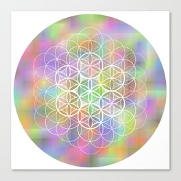 THE FLOWER OF LIFE - ON MOTTLED BACKGROUND Canvas Print