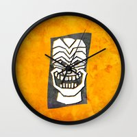 tiki Wall Clocks featuring Tiki by materndesign