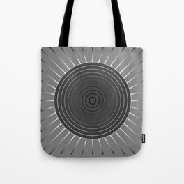 Modern Geometric Sunburst - Dark Hematite Grey Tote Bag