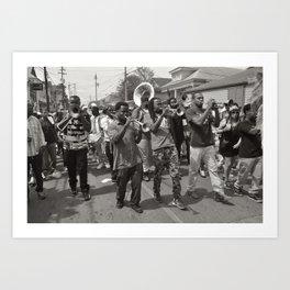 Second Line On Oak Street - New Orleans, Louisiana Art Print
