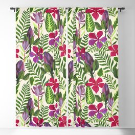Tropical Floral Collaged Repeat Pattern Blackout Curtain
