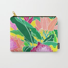 Bird of Paradise + Ginger Tropical Floral in Canary Yellow Carry-All Pouch