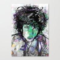 bob dylan Canvas Prints featuring Bob Dylan by Irmak Akcadogan