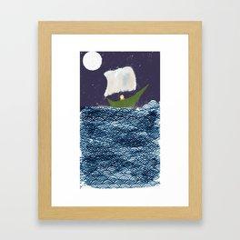Green Boat Whimsical Illustration Framed Art Print