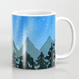 Starry Night Over Blue Mountains & Black Trees Coffee Mug