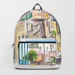 San Juan Puerto Rico Street Scene With Harbour View Backpack