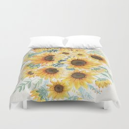 Loose Watercolor Sunflowers Duvet Cover